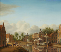 """oil painting handpainted on canvas """"landscape with buildings and river """""""