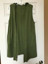 Lilla P Green Draped Hooded Open Cotton Stretch Vest  Size XS- Excellent!