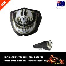 Skull Half Face Skeleton Fang Mask - Harley Rider Biker Skateboard ATV Scooter