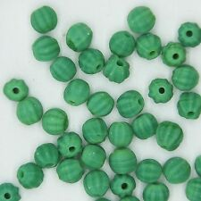 Glass Beads Green Matte Opaque Fluted Round 6mm. Pack of 40. Made in India.