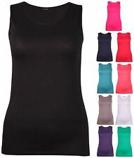 Womens New Plus Size Sleeveless Ladies Stretch Plain Vest Long Tunic T-Shirt Top