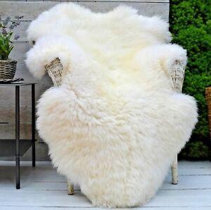 Genuine Ivory Real Sheepskin Rug Luxury British Throw Eco Pelt Large 95cm+