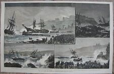 1880 Large Antique Print - Scarborough Lifeboat in Heavy Storms - Hand Colored