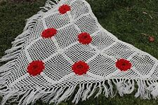 Russian Handmade Crochet Women'S Shawl Scarf Wrap White Knitted Capelet