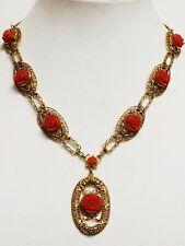 Vintage Gold Tone Molded Celluloid Coral Rose Filigree Pendant Necklace