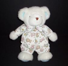 VTG Carters White Teddy Bear Print Sleeper Bees Honey Bow Blue Ears Feet 90's