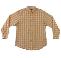 Tommy Bahama Dress Shirt Men's Medium Long Sleeve Orange White Check Button Down