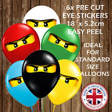 NINJAGO PARTY DECORATION STICKERS EYES FOR BALLOONS LEGO PARTY NINJAS CHILDREN