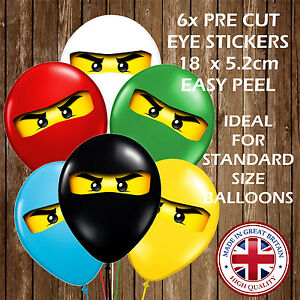NINJA PARTY DECORATION STICKERS EYES FOR BALLOONS PARTY NINJAS CHILDREN