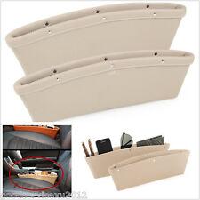 2 Pcs Beige PU Leather Car Truck Seat Gap Leak-proof Slit Storage Box Organizer