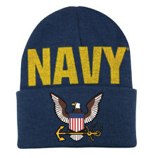 48cbc1a3fa6 Embroidered USN Navy Eagle Military Blue Logo Beanie Knit Stocking Watch  Cap Hat