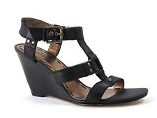 Nine West Women's Session Ankle Strap Wedge Sandals Black Leather Size 9.5 (B, M