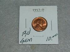 "1957 D WHEAT PENNY BU ""GEM""  CONDITION"