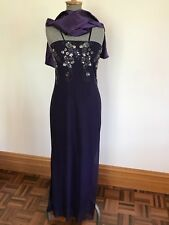 Purple patch 12 floral bead sequin formal dress strapless w small train & shawl