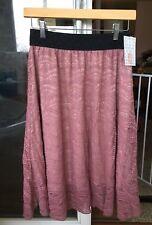 X-SMALL LuLaRoe LOLA SKIRT lace pink mauve rose blush cream black shell NWT XS