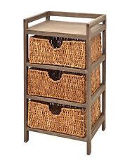 Commode/meuble de rangement 3 paniers en osier Brun NOUVEAU
