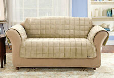 Sure Fit Deluxe Comfort Loveseat Furniture Cover in Ivory/ Cream with Strap