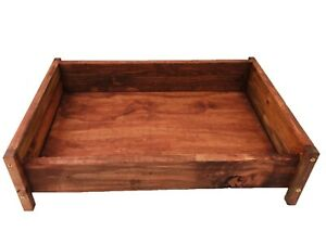 Dog Bed Solid Wood Small Redwood Finish Handmade