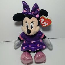 Ty Beanie Babies Minnie Mouse Purple Pink Sparkle Plush Bow