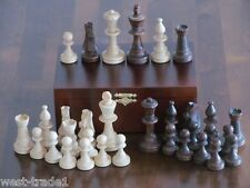 BRAND NEW♚ WEIGHTED STAUNTON TOURNAMENT  WOODEN CHESS PIECES WITH STORAGE BOX♚