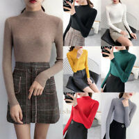 Women Ladies Jumper Knitted Mock Neck Long Sleeve Slim Bottom Stretch Top Blouse