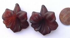 Vintage 30 x 33mm Frosted Lucite Trumpet Flower Drop Beads Charms 2