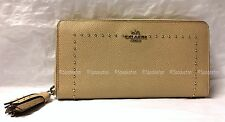 Coach 52769 Edge Studs Crossgrain Leather Acc Zip Wallet NUDE Tan NWT Rare!