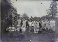"Glass Plate Negative Minnesota late 1800s 5"" x 7"" large family Group Outside C"