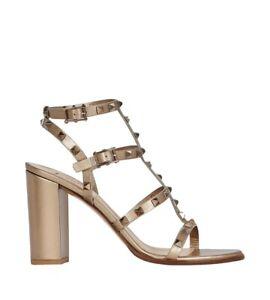 NIB Valentino Garavani Gold Leather Rockstud Block Heel Sandals 41 MSRP $1,075