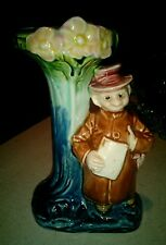 Austrian majolica spill vase man by tree