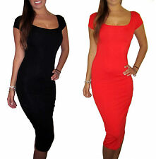 Womens Party Long Jersey Summer Cap Sleeve Dress Black Red Size 8 10 12 14 16 18