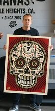 Obey Shepard Fairey Power Glory Day of the Dead Skull LARGE FORMAT Red Poster