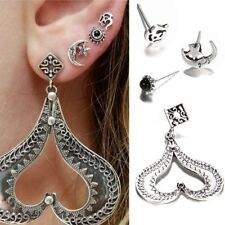 4Pcs/Set Bohemian Heart Star Moon Stud Earrings Set Trendy Crystal Jewelry Gifts