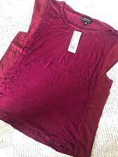 Ladies Top Size 16 Warehouse Plum Woven Side Vest Blouse