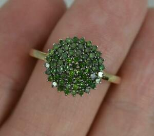 0.33 Carat Green Diamond and 9ct Gold Cluster Ring
