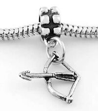 STERLING SILVER DANGLE ARCHERY BOW and ARROW BEAD