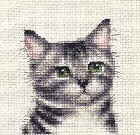 SILVER TABBY CAT, KITTEN ~ Full counted cross stitch kit