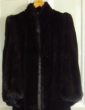 "Black Ranch MINK fur Big Sweep 48"" long full length Coat+Hat,UK 12"