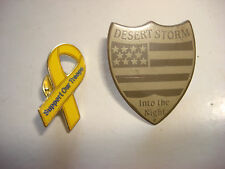 2 US Army SUPPORT OUR TROOPS + Operation DESERT STORM Lapel Pins