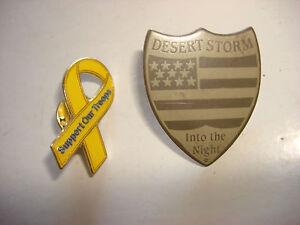 2 États-Unis Armée Support Our Troops + Opération Desert Storm Revers Broches