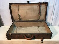 Wicker Rattan  Luggage Handcrafted Travel Case Vtg 1920's 30's Free Shippin