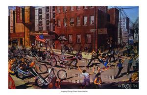 Dave Mann Ed Roth Studios Print Poster Bike Chopper Chicago Peace Demonstrators