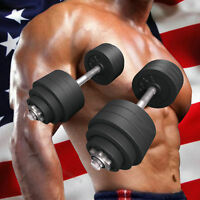 New Total 105lbs Dumbbells 2 x 52.5lbs A Set Adjustable Black Plated Dumbbells