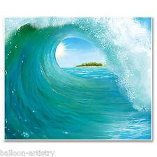 Tropical Fiesta Luau Hawaiano 6ft Escena Setter Surf Wave Mural Decoración