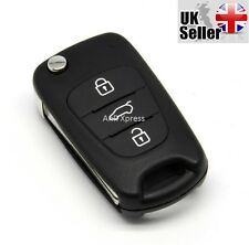FOR HYUNDAI I20 I30 3 BUTTON FLIP KEY FOB CASE SHELL WITH NEW UNCUT BLADE
