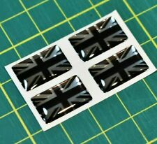 4x Union Jack Domed Stickers - High Gloss Raised Finish Type 6
