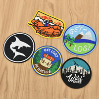 Iron on Patches Round Embroidery Applique Travel Transfers Badges DIY Stickers