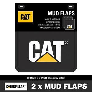 Genuine Cat Mud Flaps 26cm x 23cm Caterpillar Mudflaps 10inch x 9inch (1x Pair)