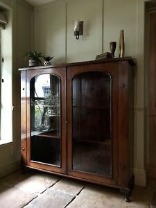 Large Antique Victorian Mahogany Display China Bookcase Glazed Drinks Cabinet