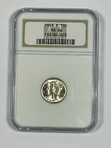 1943-S NGC MS66 Silver Mercury Dime in Old Holder-Nice Luster!!!